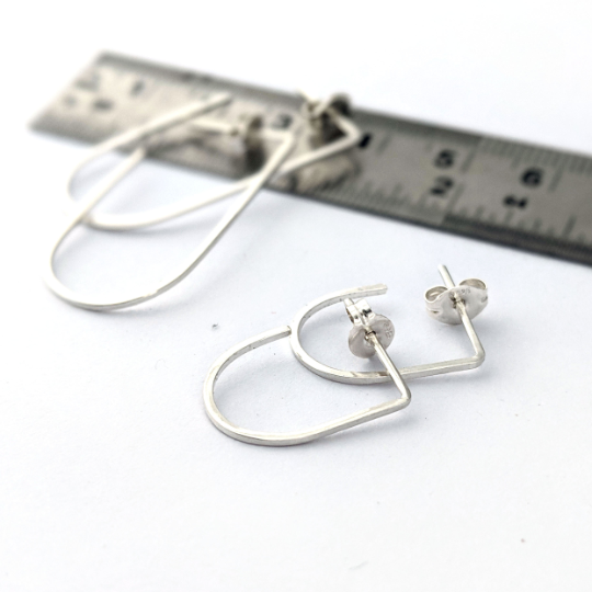 Slim Hoops in Blackened Sterling Silver - Queens Metal