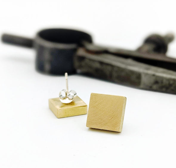 Square Studs in Brass with Sterling Silver Posts
