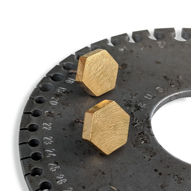 Hexagon Studs in Brass with Sterling Silver WHLRGHEXBR15 - Queens Metal