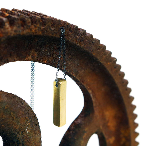 Industrial Bar Necklace in Brass - Queens Metal