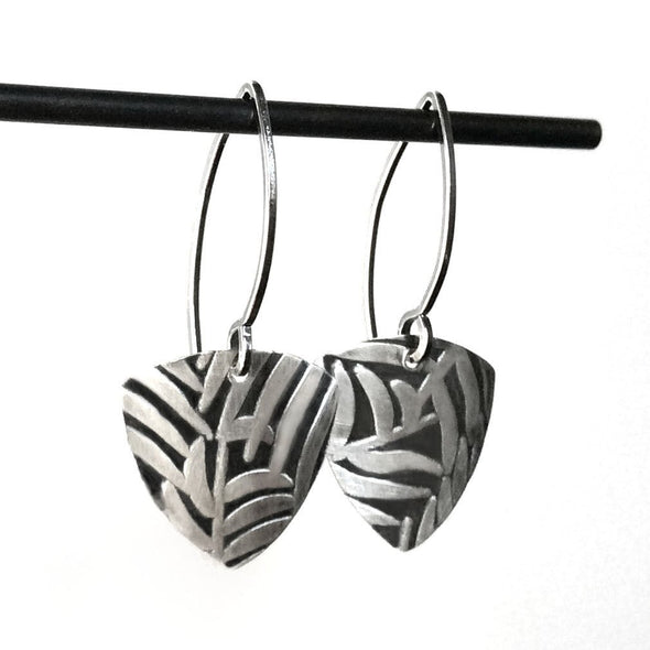 Simple Industrial Earrings in Sterling Silver - Queens Metal