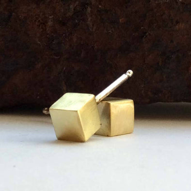 Cube Studs in Brass - Queens Metal