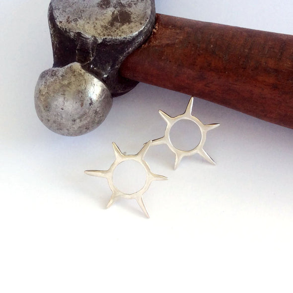 Sunburst Studs in Sterling Silver - Queens Metal