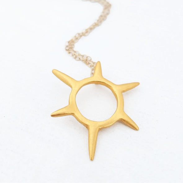 Mini Sunburst Necklace in 14K Gold Vermeil - Queens Metal