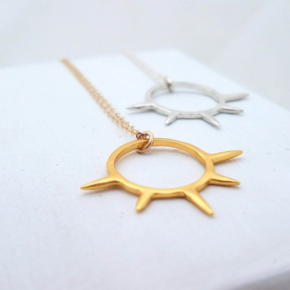 Sunburst Pendant Necklace in Sterling Silver - Queens Metal