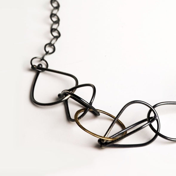 Vessel Necklace in Dark Sterling Silver and 14k Gold Fill - Queens Metal