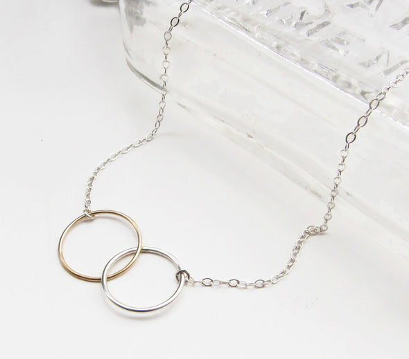 Friendship Necklace in Sterling Silver and 14k Gold Fill - Queens Metal