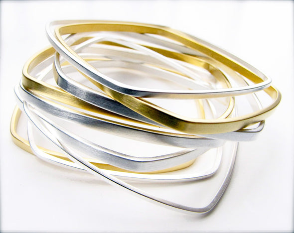 Square Bangles Gold and Silver Dipped - Queens Metal