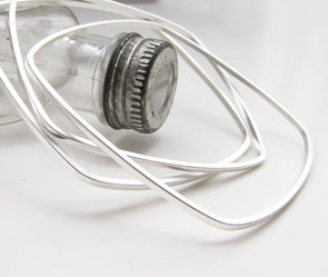 Square Bangles Silver Dipped - Queens Metal