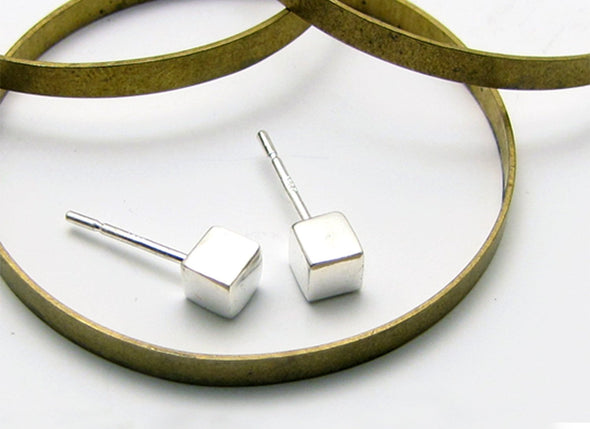 Cube Studs in Sterling Silver - Queens Metal