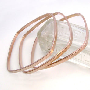 Square Bangles Rose Gold Dipped - Queens Metal