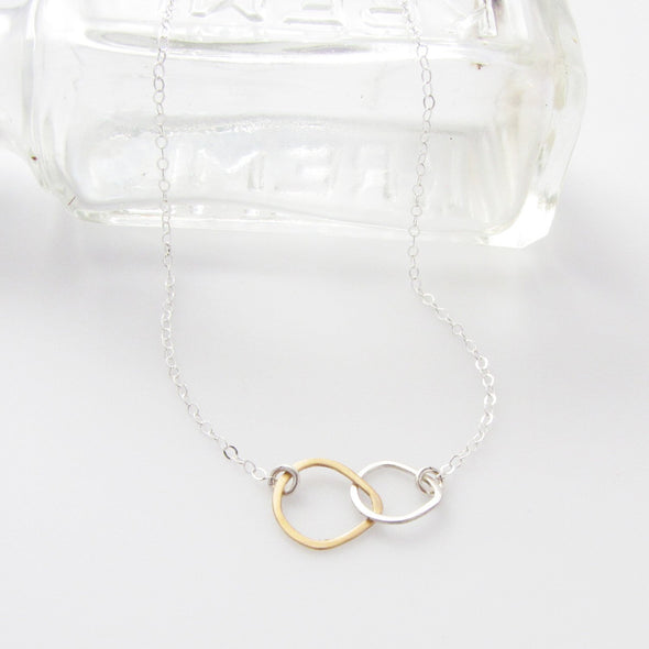 Teardrop Necklace in Sterling Silver and Gold Fill - Queens Metal