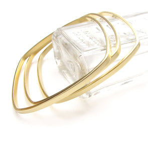 Square Bangles Gold Dipped - Queens Metal