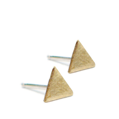 Triangle Studs in Brass - Queens Metal
