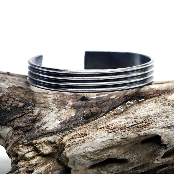 Striated Cuff Bangle in Sterling Silver - Queens Metal