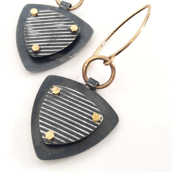 Layer Earrings in Sterling Silver and Gold Fill - Queens Metal