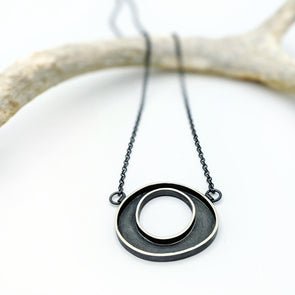 Mini Crop Circle Necklace in Sterling Silver