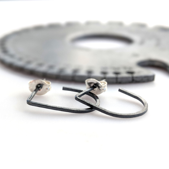 Mini Slim Hoops in Blackened Sterling Silver - Queens Metal