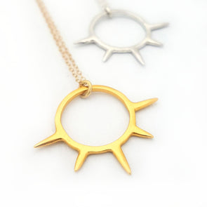 Sunburst Pendant Necklace in 14k Gold Vermeil - Queens Metal