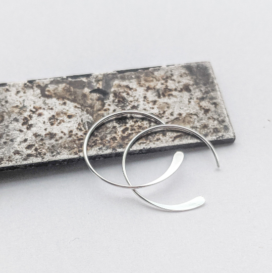Tiny Moon Hoops in Sterling Silver - Queens Metal