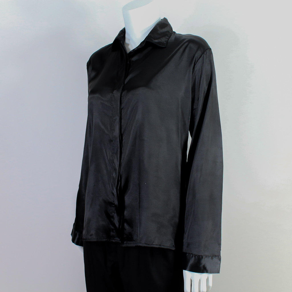 Black Satin Button Down Blouse-Blouse-ALIPH-S/M-ALIPH