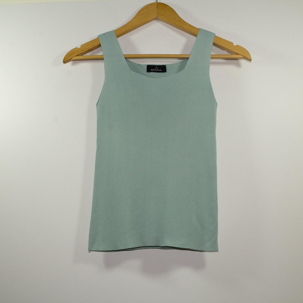 Pastel Green Body Contour Sleeveless Shirt-Sleeveless Top-ALIPH-S/M-ALIPH