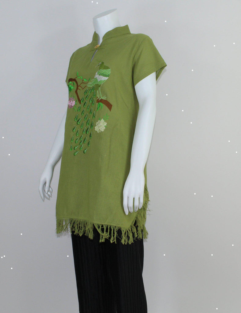 Peacock Embroidered Cap Sleeves Kurti-Kurti-ALIPH-S/M-ALIPH