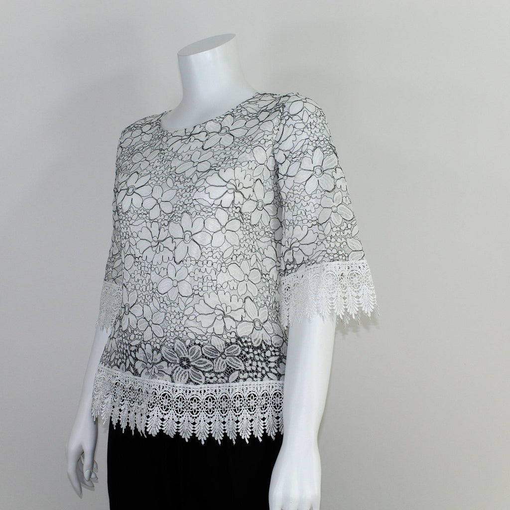 White & Black Floral Lace Top-Full Sleeve Blouse-ALIPH-S/M-ALIPH