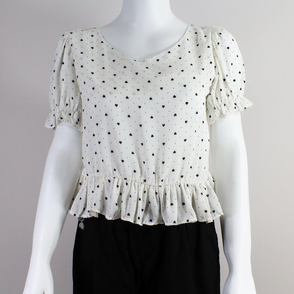 White Sweetheart Short Top-Half Sleeves Top-ALIPH-S/M-ALIPH