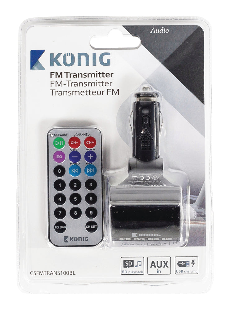 König FM Audio Transmitter 3.5 mm Black