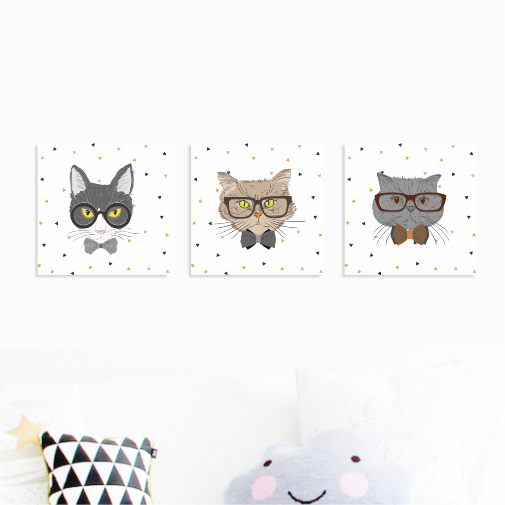 Executive Meows - Nursery Canvas Wall Art - Set of 3 (200mm x 200mm) - Our Precious Moments