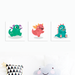 Dino Happiness - Nursery Canvas Wall Art - Set of 3 (200mm x 200mm) - Our Precious Moments