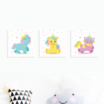 Magical Unicorns - Nursery Canvas Wall Art - Set of 3 (200mm x 200mm) - Our Precious Moments