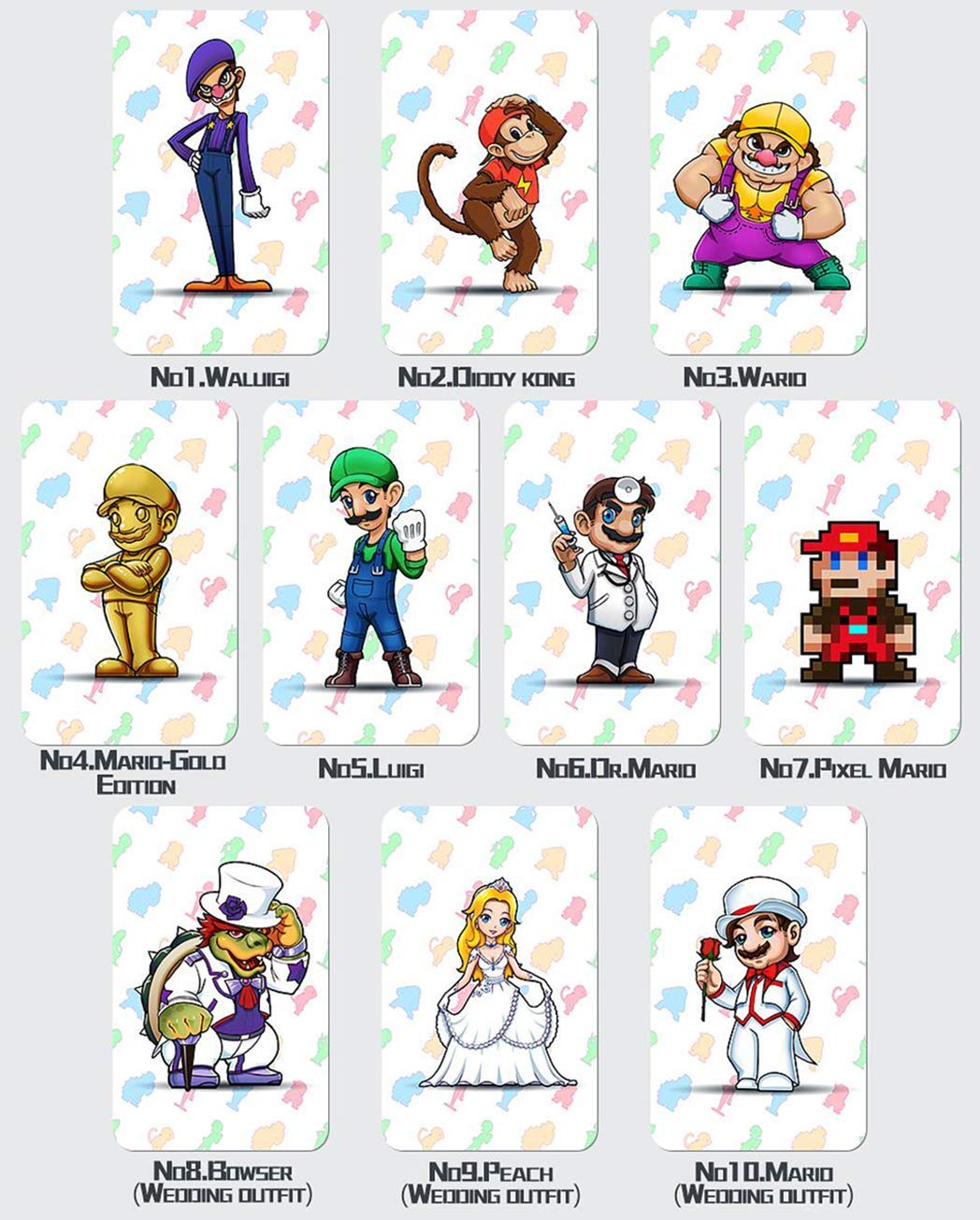 10pcs Nfc Tag Game Cards For Super Mario Odyssey Switch