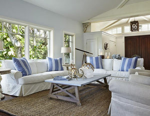 Knot This But That: Blue White Beach House Living Room