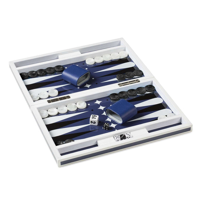 Lacquer Backgammon Set in Blue & White