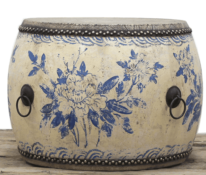 Antique Drum Table - Hand Painted Blue & White