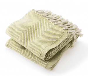 Cotton Monhegan-Herringbone Throw - Natural & Apple Green Throw