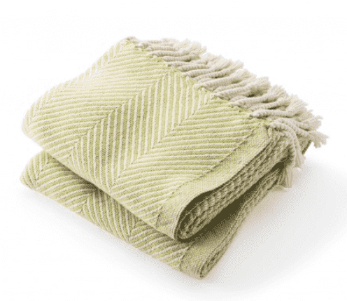 Cotton Monhegan-Herringbone Throw - Natural & Apple Green
