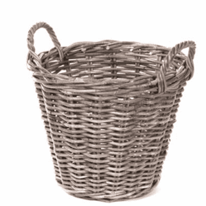 Kubu (graywash) Rattan Planter Basket with Handles Planter