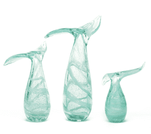 Hand-Blown Glass Whales Tail in Aqua (3 sizes) Accessory