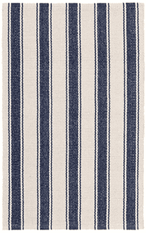 Blue Awning Stripe Woven Cotton Rug Rug