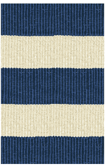 Hampton 4-inch Stripe Indoor/Outdoor PVC Rug - Pacific Blue/Cream