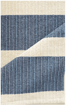 Hampton 9-inch with 4-inch Stripe Indoor/Outdoor PVC Rug - Steel Blue and Beige Rug