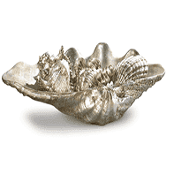 Antiqued Silver Shell Set Decor