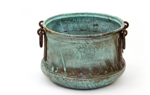 Copper Cauldron with Verdi Green Vintage Finish -Medium