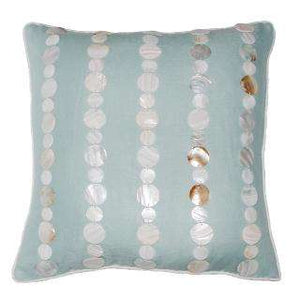 "Mother of Pearl Shell Linen Pillow (Aqua) Pillow 22"" x 22"" square Celadon/Aqua"