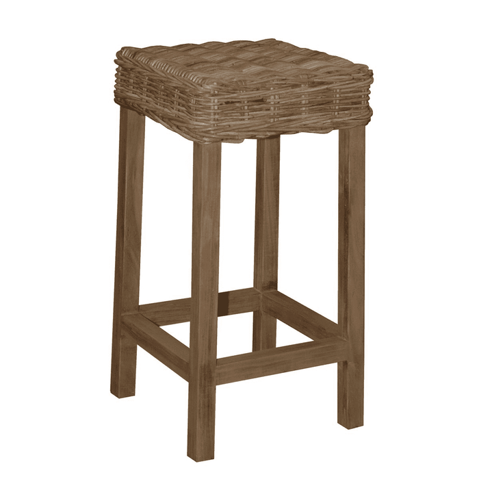 Nantucket Washed Woven Rattan Bar Stool (backless)