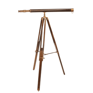 Brass Telescope Mounted on Rosewood Stand Decor