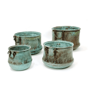 Verdi Green Copper Cauldrons (4 Sizes) Planter